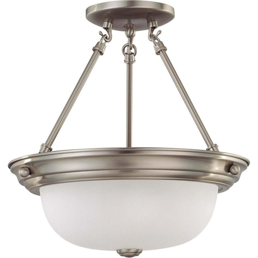 Divina 13.72-in W Brushed Nickel Frosted Glass Semi-Flush Mount Light