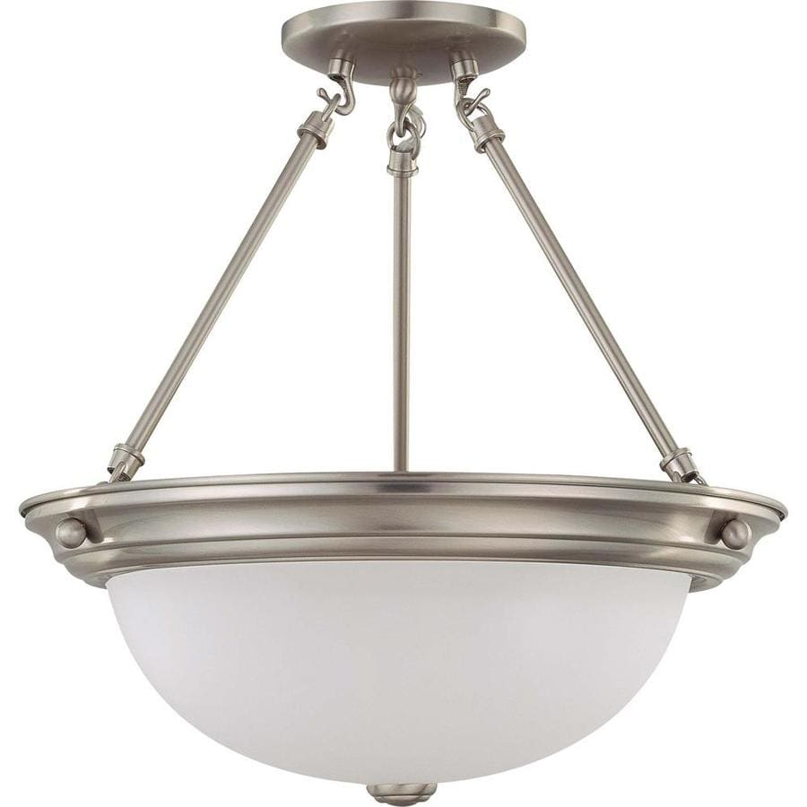 Divina 15.68-in W Brushed Nickel Frosted Glass Semi-Flush Mount Light