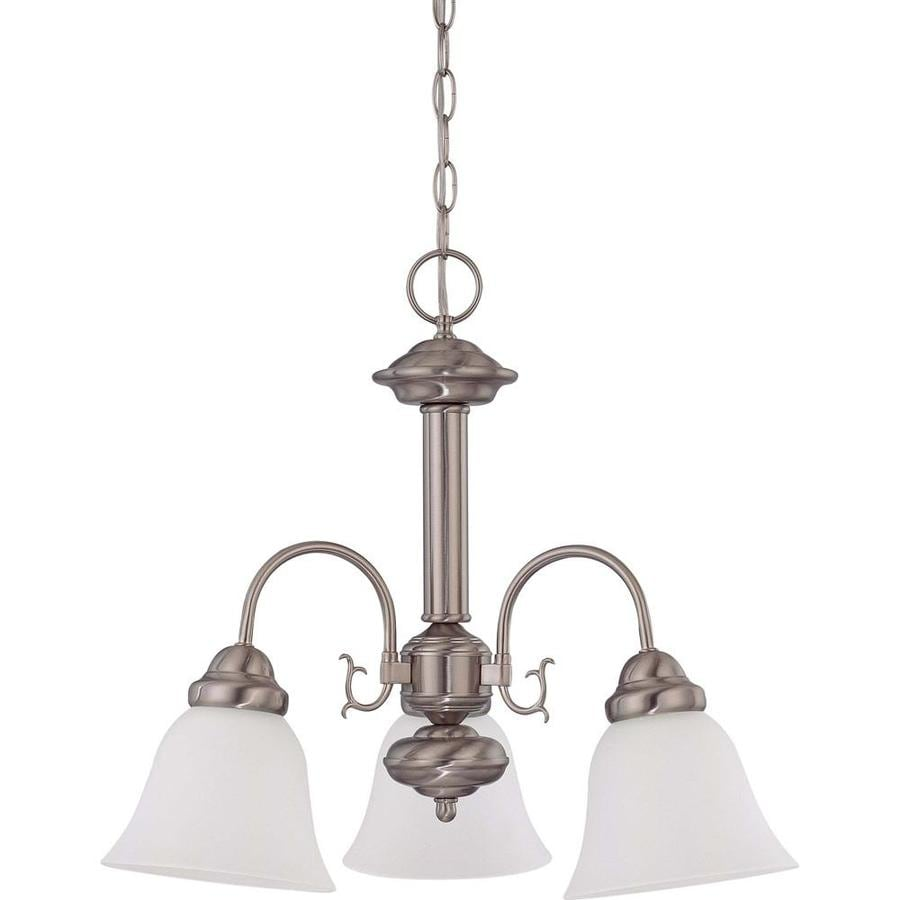 Ballerina 20-in 3-Light Brushed Nickel Tinted Glass Candle Chandelier