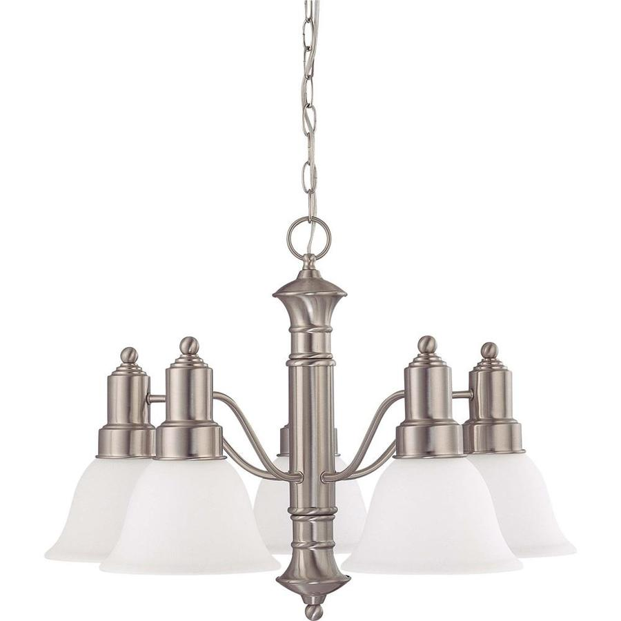 Gotham 24.5-in 5-Light Brushed Nickel Tinted Glass Candle Chandelier