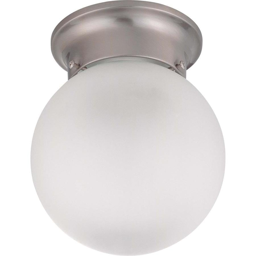 Divina 7.1-in W Brushed Nickel Frosted Glass Semi-Flush Mount Light