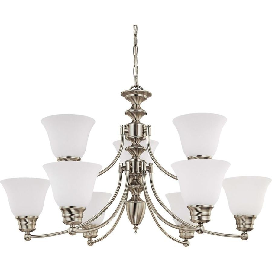 Empire 32-in 9-Light Brushed nickel Tinted Glass Candle Chandelier