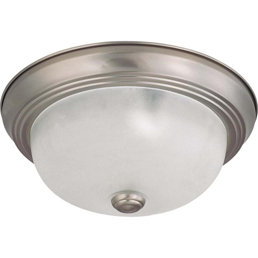 11.37-in W Brushed Nickel Standard Flush Mount Light