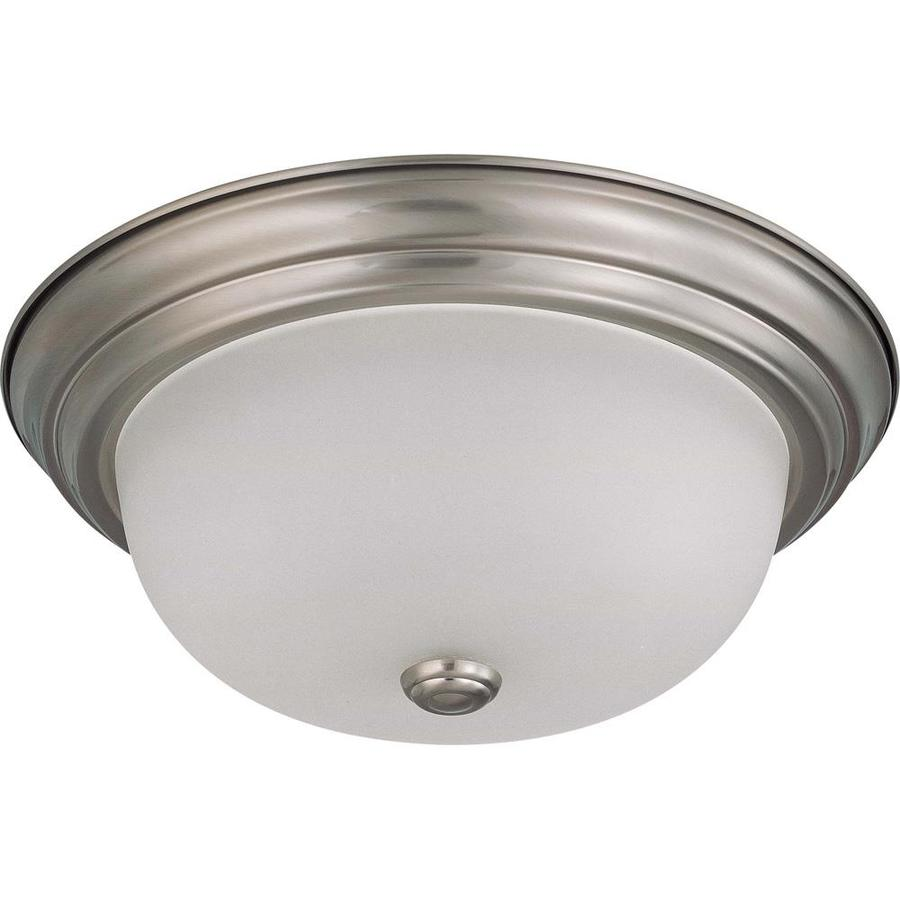 13.12-in W Brushed Nickel Standard Flush Mount Light
