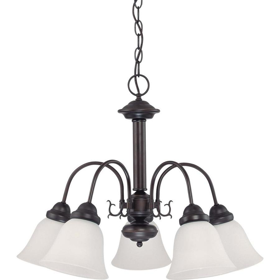 Edith 24-in 5-Light Mahogany Bronze Candle Chandelier