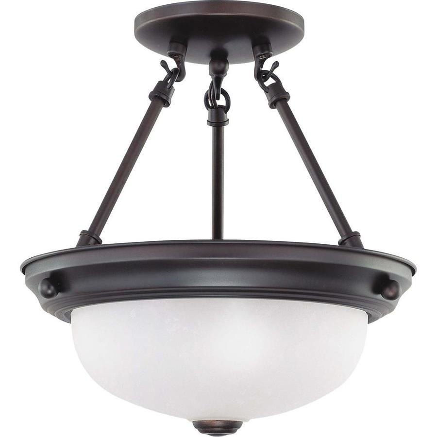 Divina 12-in W Mahogany Bronze Frosted Glass Semi-Flush Mount Light