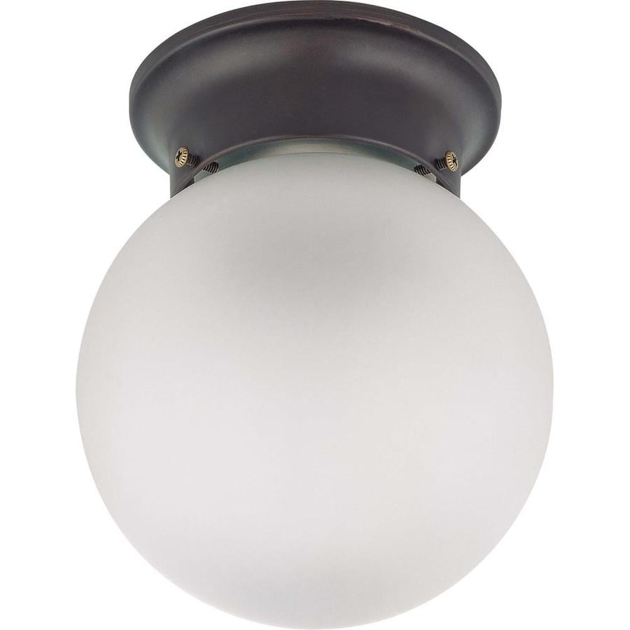 Divina 7.1-in W Bronze Frosted Glass Semi-Flush Mount Light
