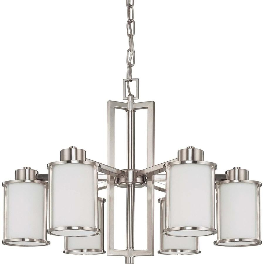 Odeon 28-in 6-Light Brushed Nickel Tinted Glass Candle Chandelier