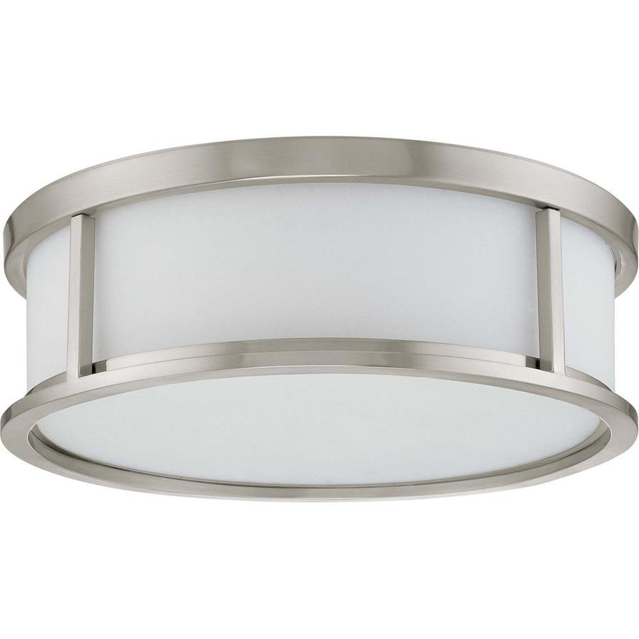 15-in W Brushed Nickel Standard Flush Mount Light