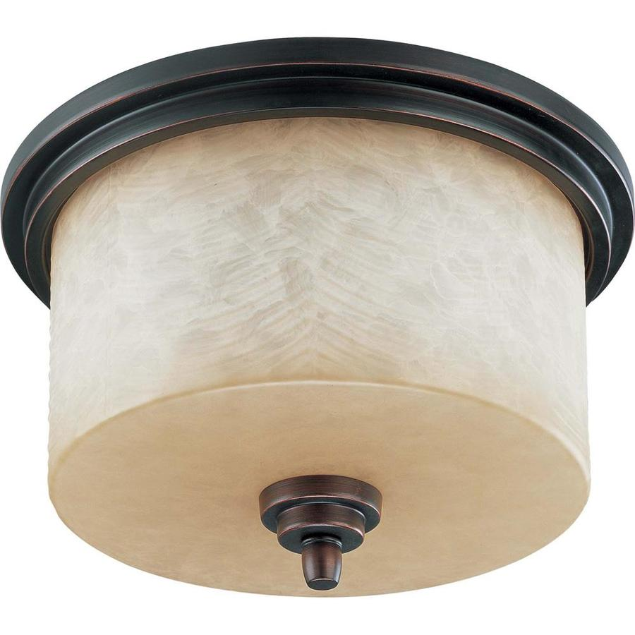 3-in W Patina Bronze Flush Mount Light