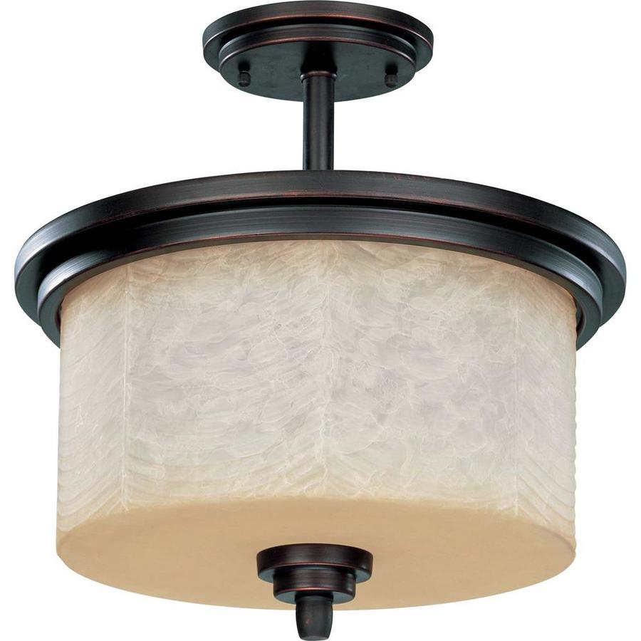 Divina 16.42-in W Patina Bronze Tea-Stained Glass Semi-Flush Mount Light