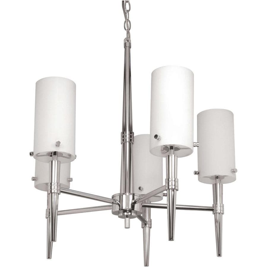 Jet 23.5-in 5-Light Polished Chrome Tinted Glass Candle Chandelier