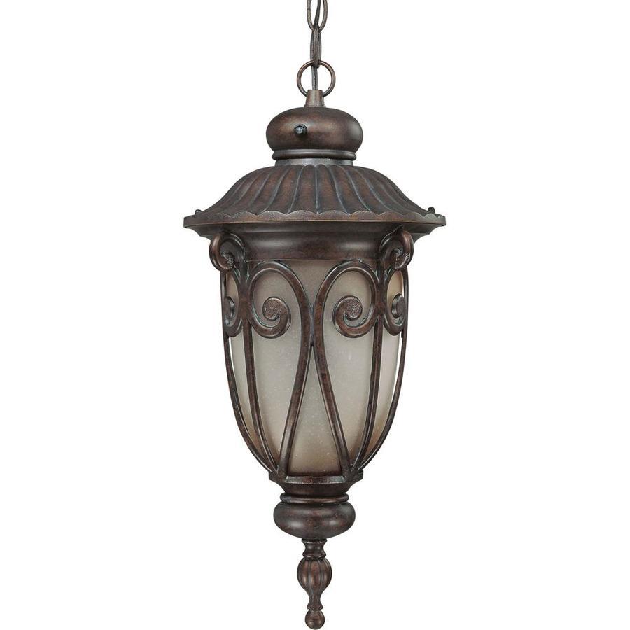 11.27-in W Burlwood Bronze Outdoor Flush-Mount Light