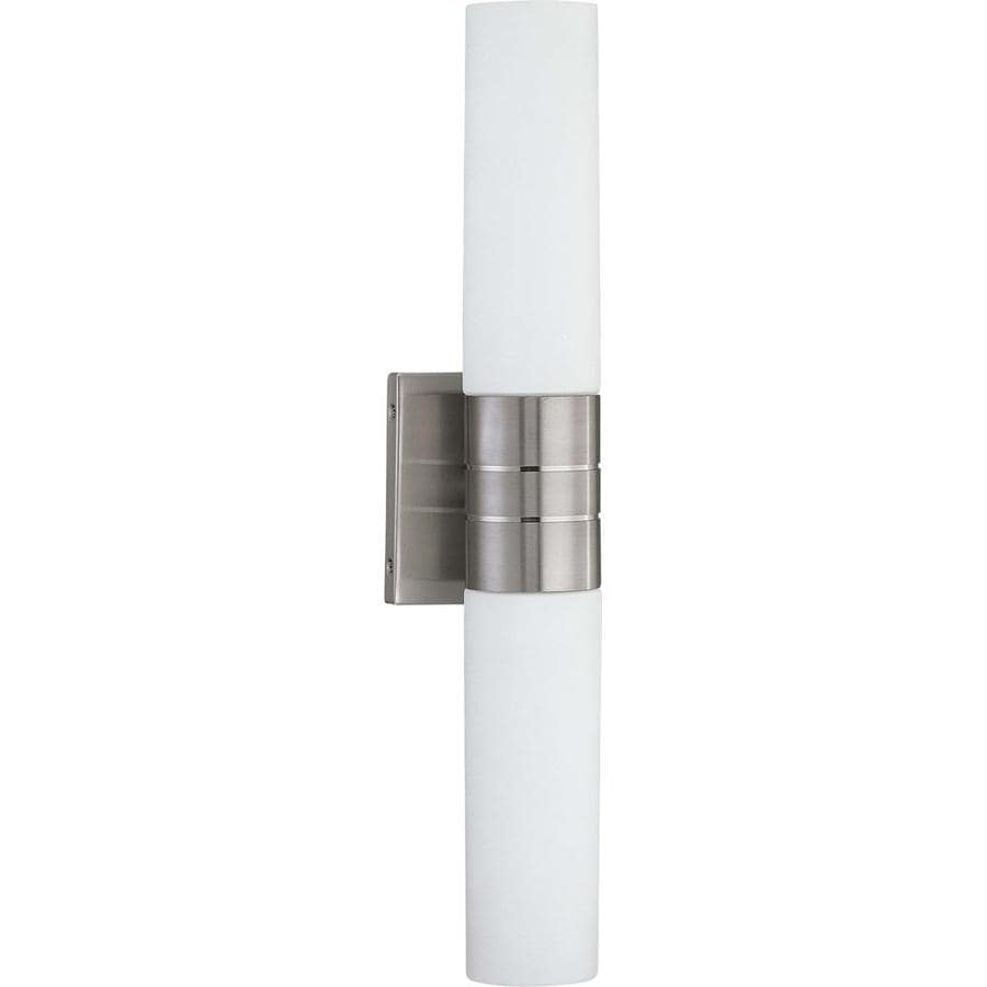Link 13.26-in W 2-Light Brushed Nickel Arm Hardwired Wall Sconce