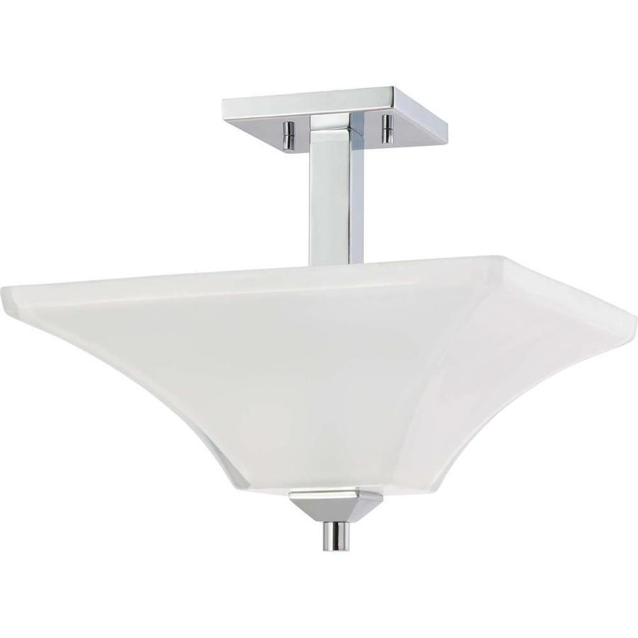 Divina 14.95-in W Polished Chrome Frosted Glass Semi-Flush Mount Light
