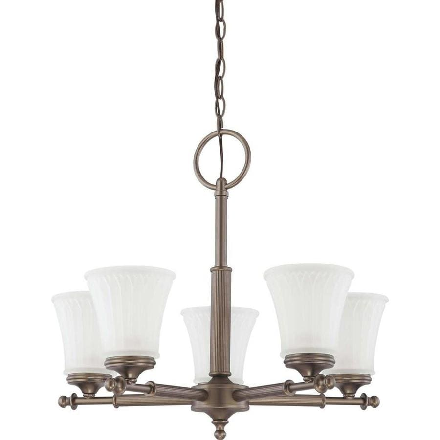 Teller 22-in 5-Light Aged Pewter Tinted Glass Candle Chandelier