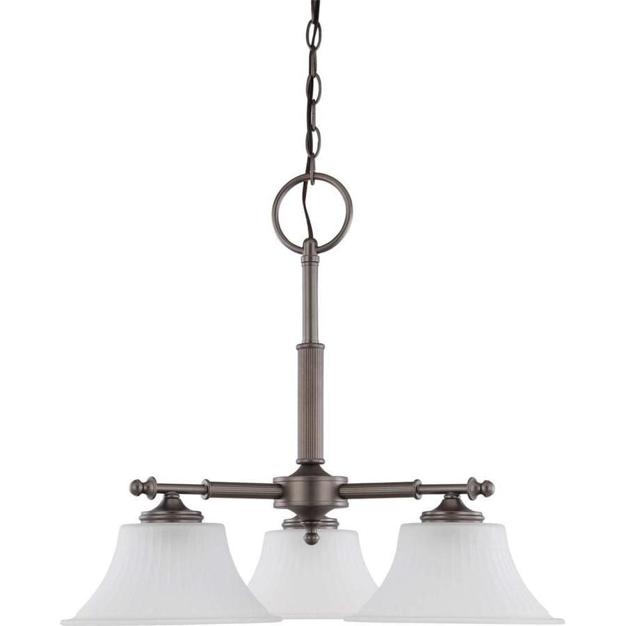 Teller 24.75-in 3-Light Aged Pewter Tinted Glass Candle Chandelier