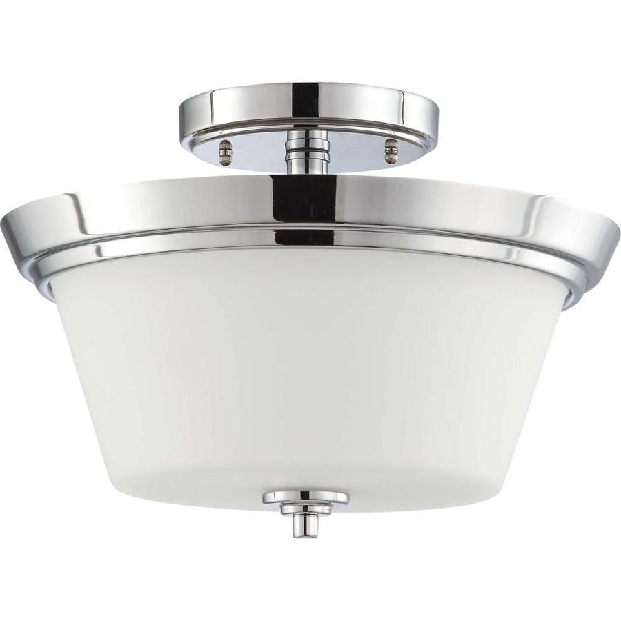 Divina 14.7-in W Polished Chrome Frosted Glass Semi-Flush Mount Light
