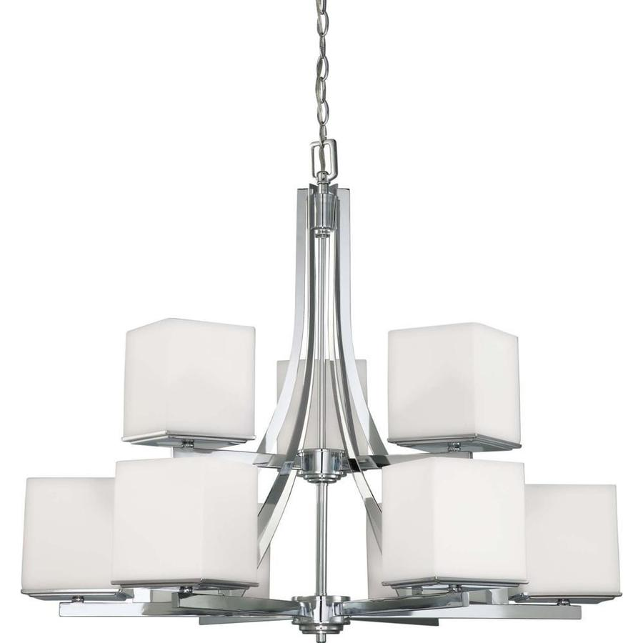 Barker 32.25-in 9-Light Polished Chrome Tinted Glass Tiered Chandelier