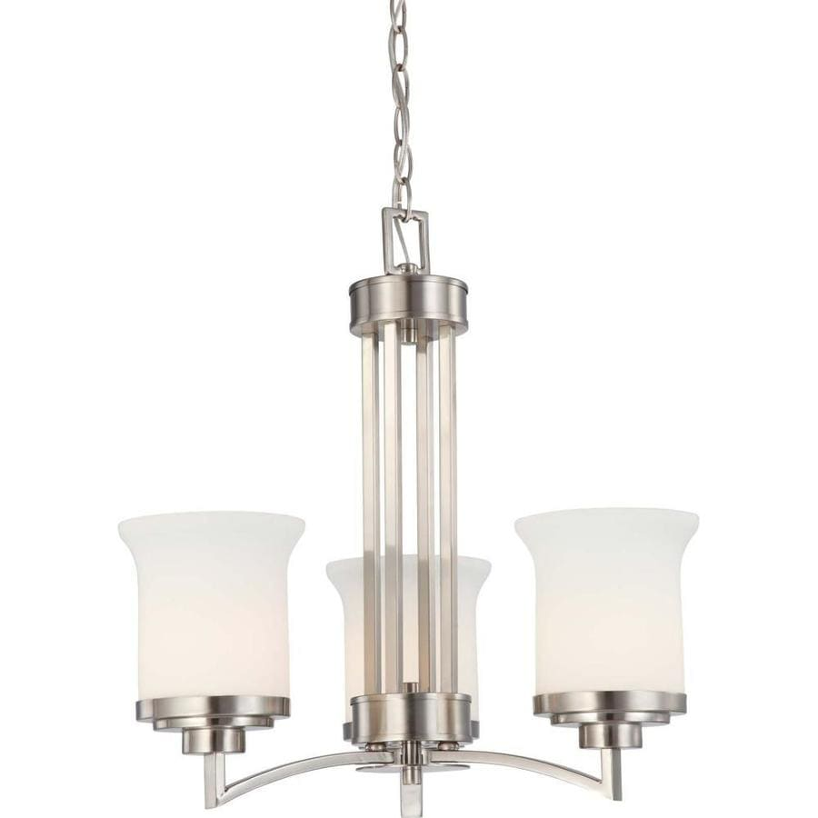 Harmony 20-in 3-Light Brushed nickel Tinted Glass Candle Chandelier