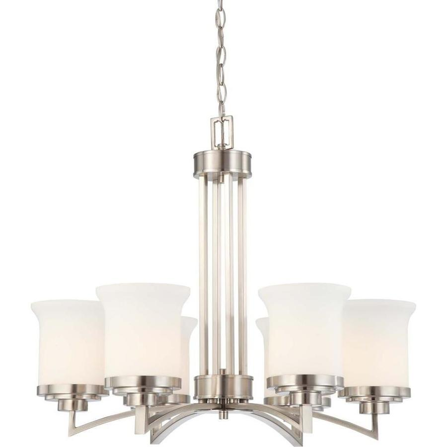Harmony 26-in 6-Light Brushed Nickel Tinted Glass Candle Chandelier