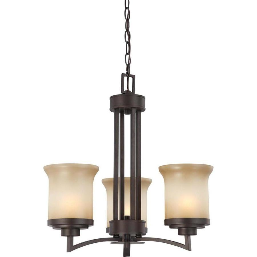 Harmony 20-in 3-Light Dark chocolate bronze Tinted Glass Candle Chandelier