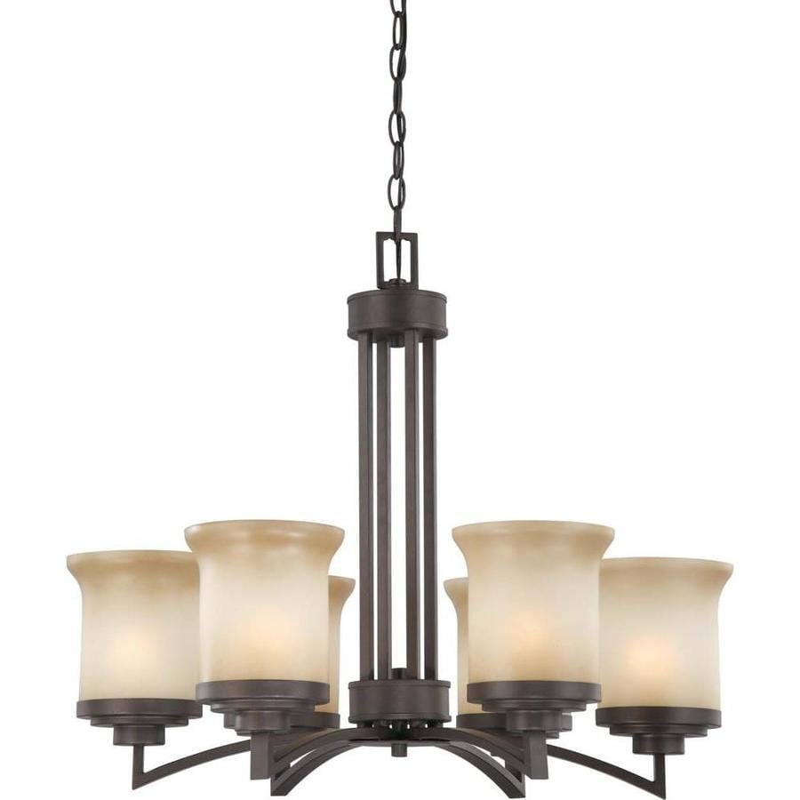 Harmony 26-in 6-Light Dark Chocolate Bronze Tinted Glass Candle Chandelier