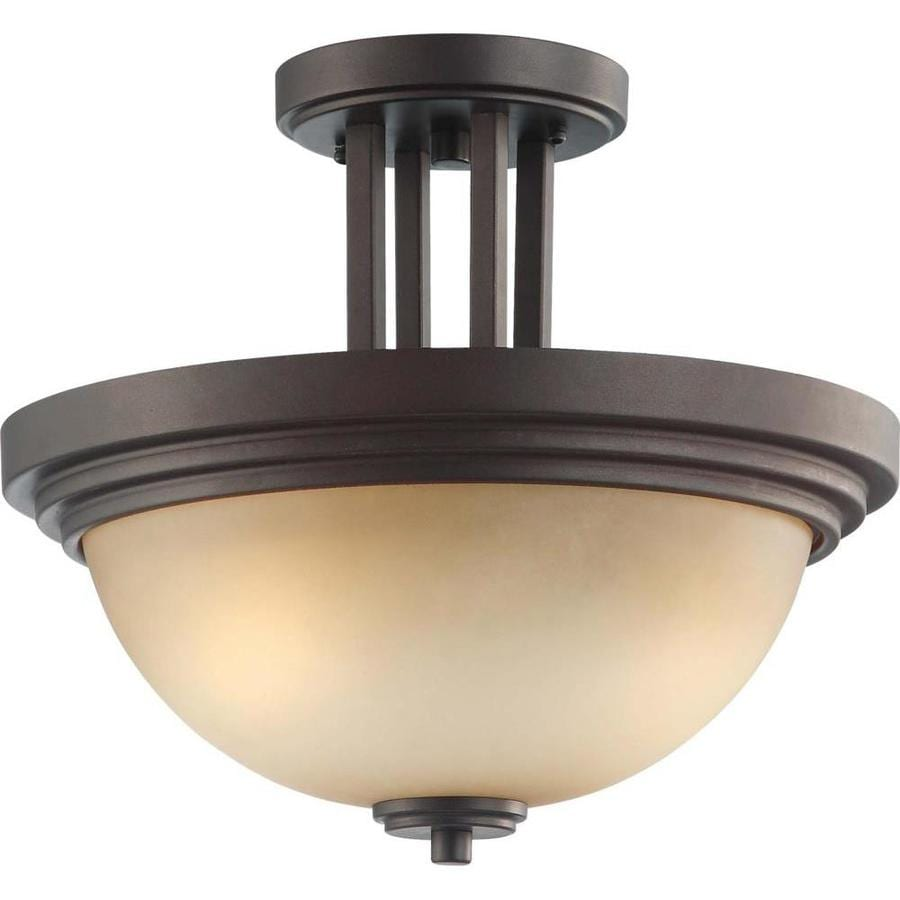 Divina 16.78-in W Dark Chocolate Bronze Tea-Stained Glass Semi-Flush Mount Light