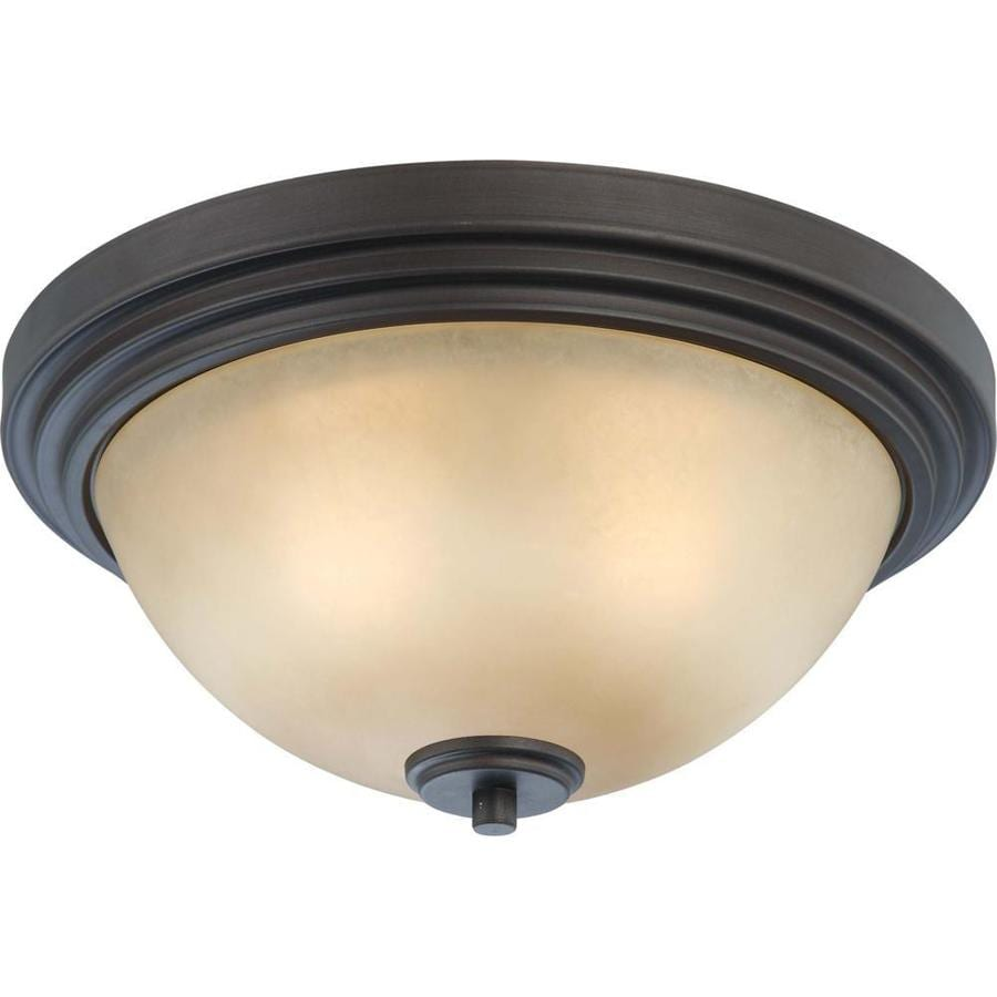 13.75-in W Dark Chocolate Bronze Ceiling Flush Mount Light
