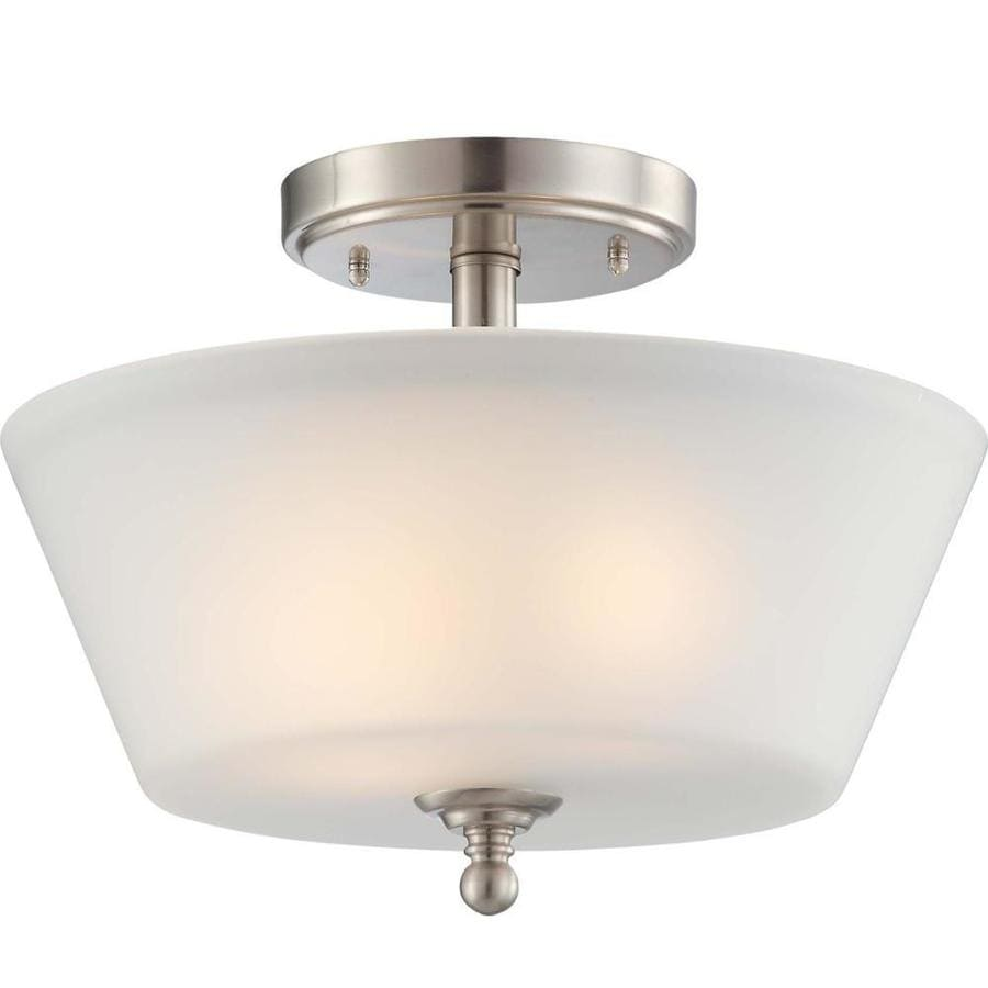 Divina 14.7-in W Brushed Nickel Frosted Glass Semi-Flush Mount Light