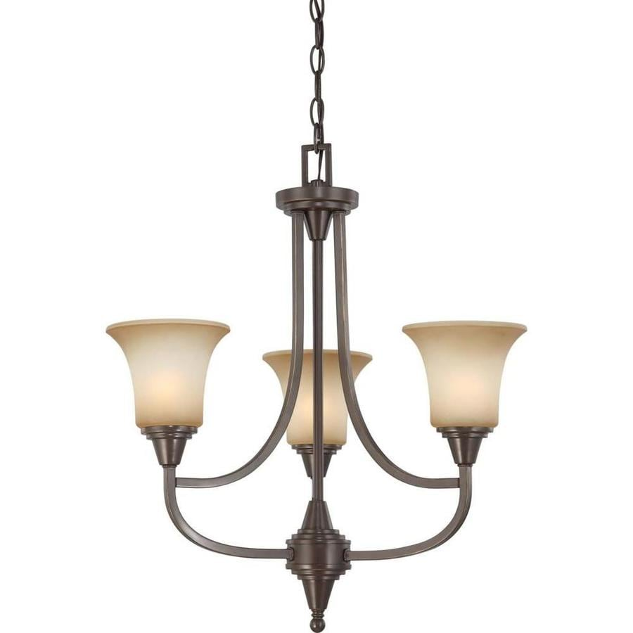 Surrey 21.75-in 3-Light Vintage Bronze Tinted Glass Candle Chandelier
