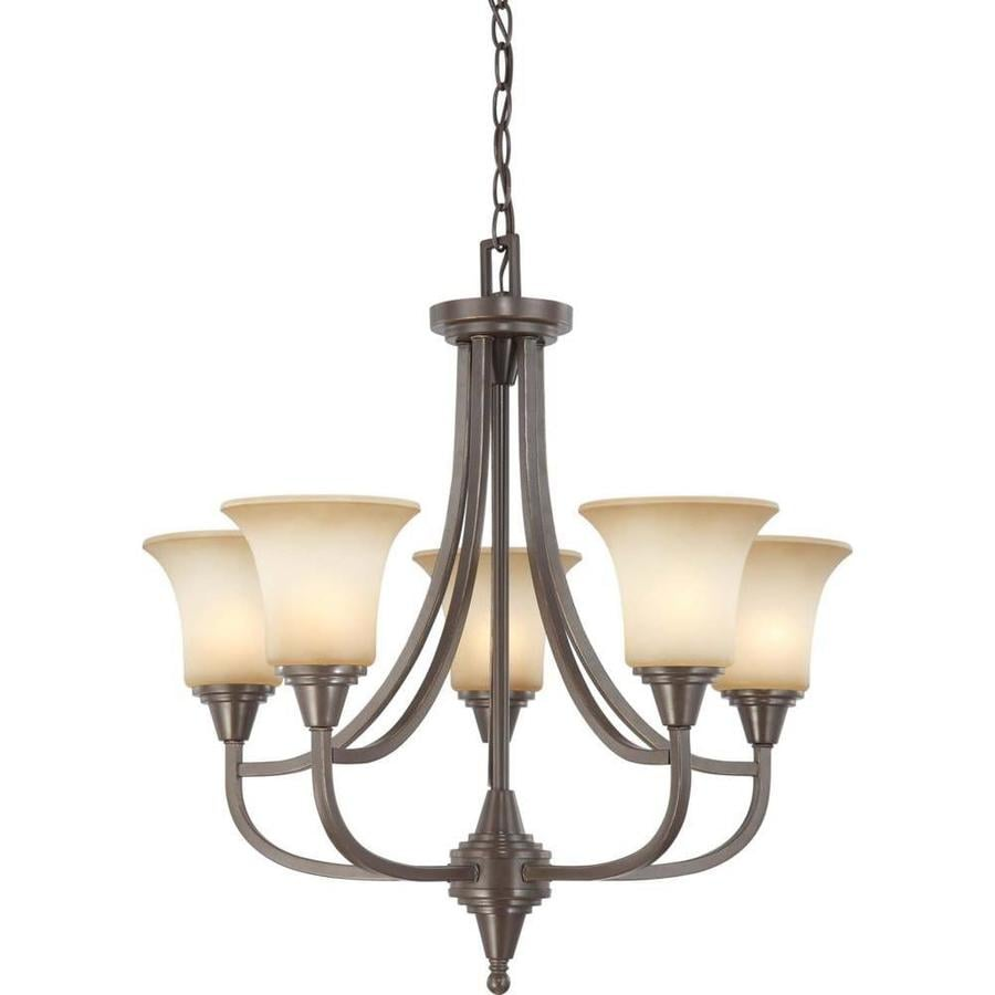 Surrey 24.25-in 5-Light Vintage Bronze Tinted Glass Candle Chandelier