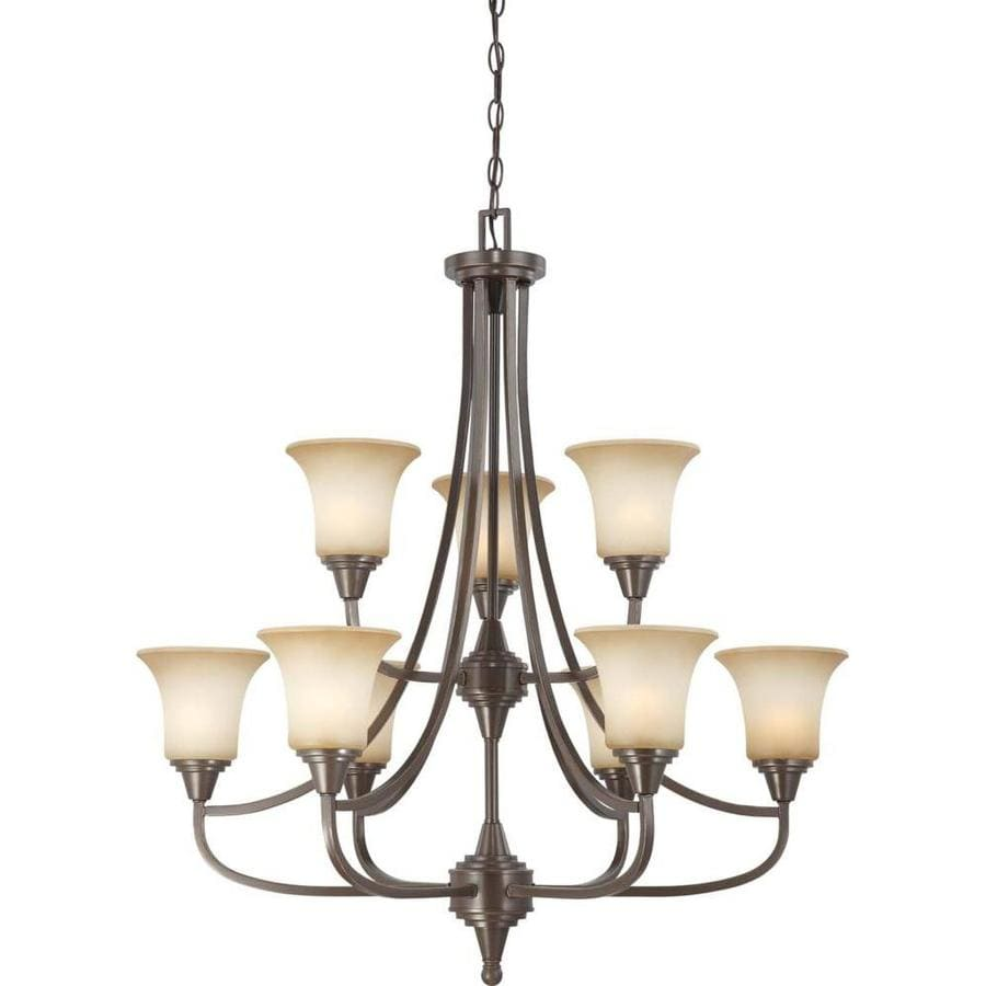 Surrey 32-in 9-Light Vintage Bronze Tinted Glass Tiered Chandelier