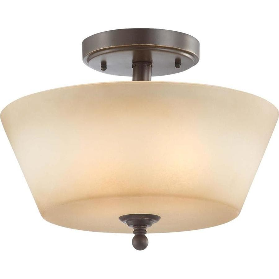 Divina 14.7-in W Vintage Bronze Tea-Stained Glass Semi-Flush Mount Light