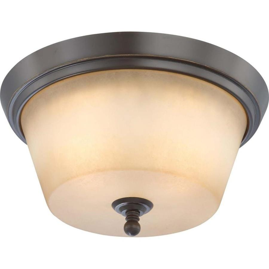 13-in W Vintage Bronze Ceiling Flush Mount Light