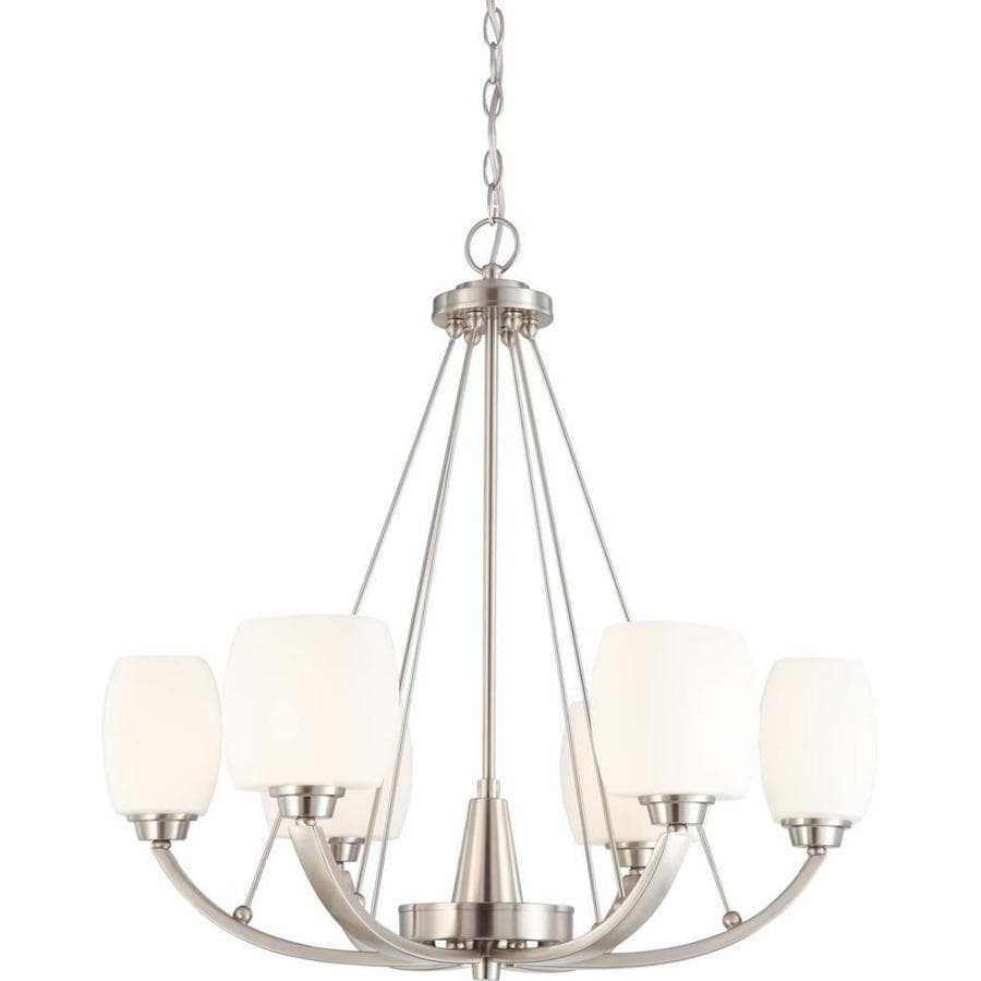 Helium 27-in 6-Light Brushed Nickel Tinted Glass Candle Chandelier