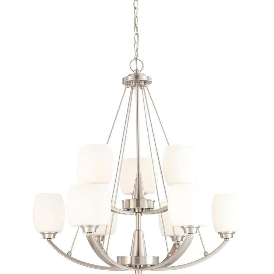 Helium 30-in 9-Light Brushed Nickel Tinted Glass Tiered Chandelier
