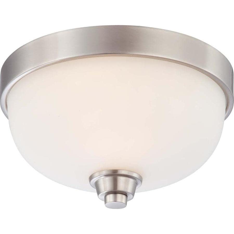 11.25-in W Brushed Nickel Standard Flush Mount Light