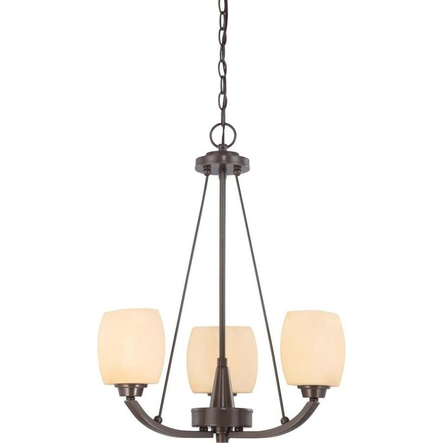 Helium 20-in 3-Light Vintage Bronze Tinted Glass Candle Chandelier