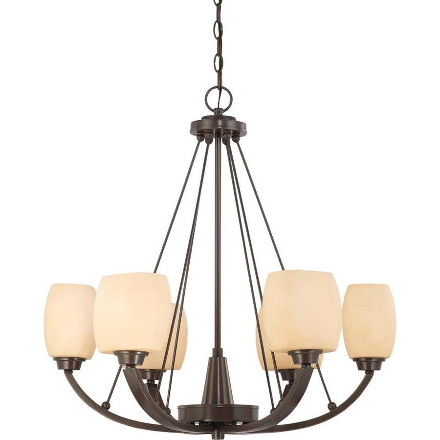 Helium 27-in 6-Light Vintage Bronze Tinted Glass Candle Chandelier