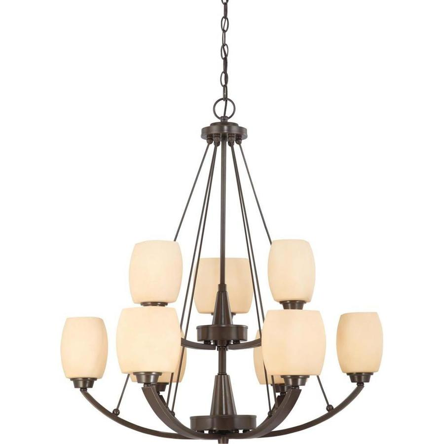 Helium 30-in 9-Light Vintage Bronze Tinted Glass Tiered Chandelier