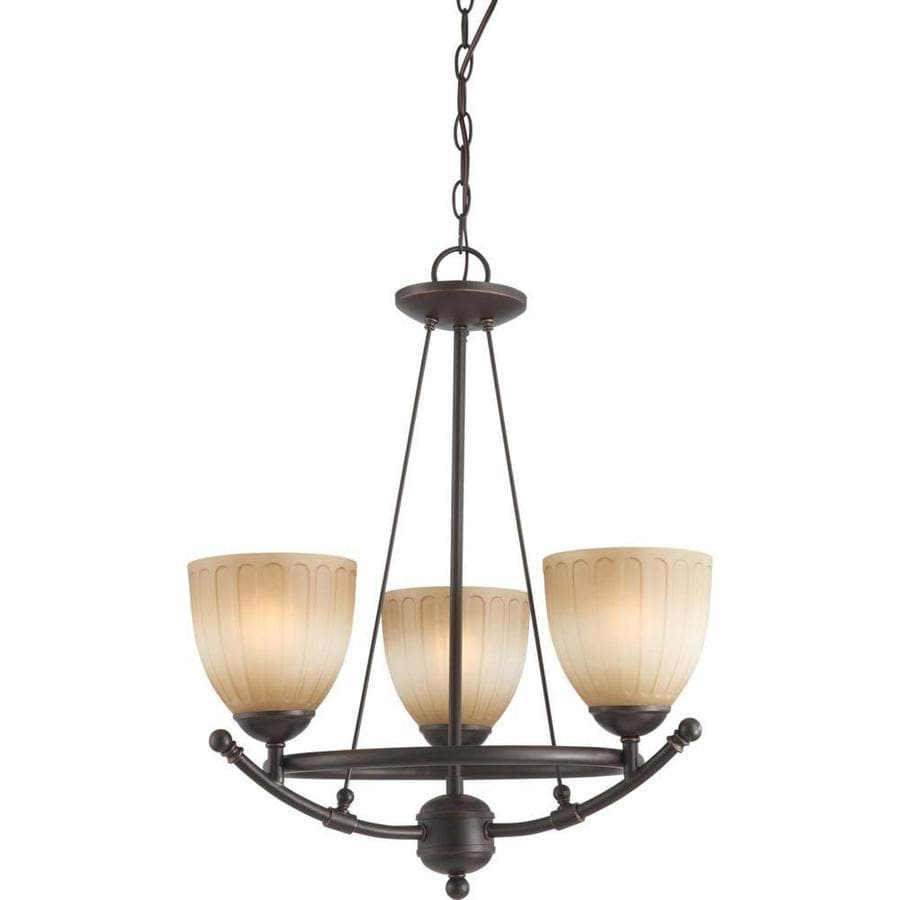 Carousel 20-in 3-Light Sudbury Bronze Tinted Glass Candle Chandelier