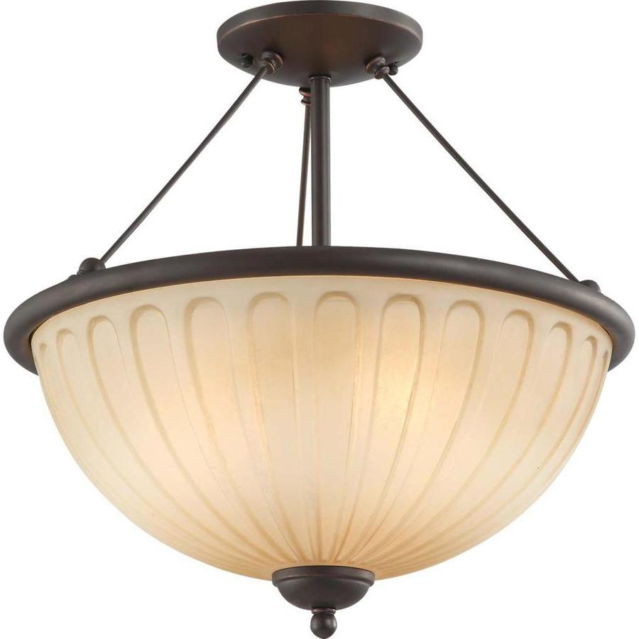 Divina 15.8-in W Sudbury Bronze Tea-Stained Glass Semi-Flush Mount Light