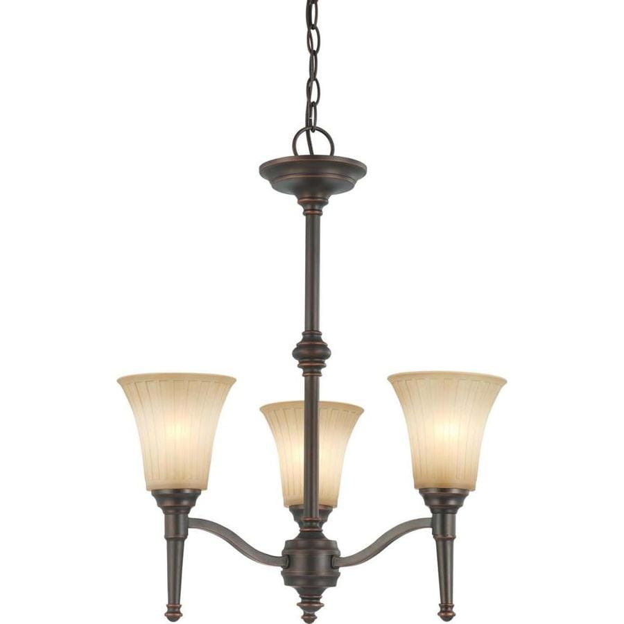 Franklin 20-in 3-Light Georgetown Bronze Tinted Glass Candle Chandelier