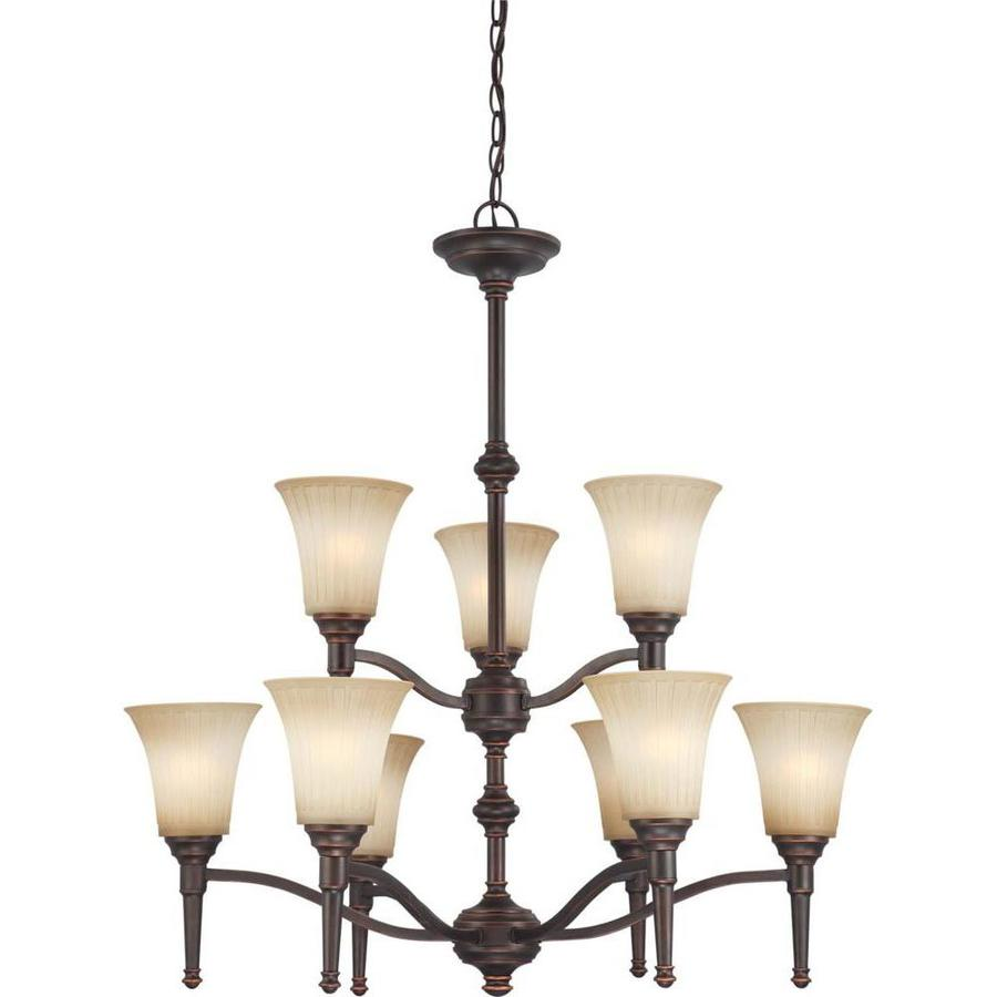 Franklin 30-in 9-Light Georgetown Bronze Tinted Glass Tiered Chandelier