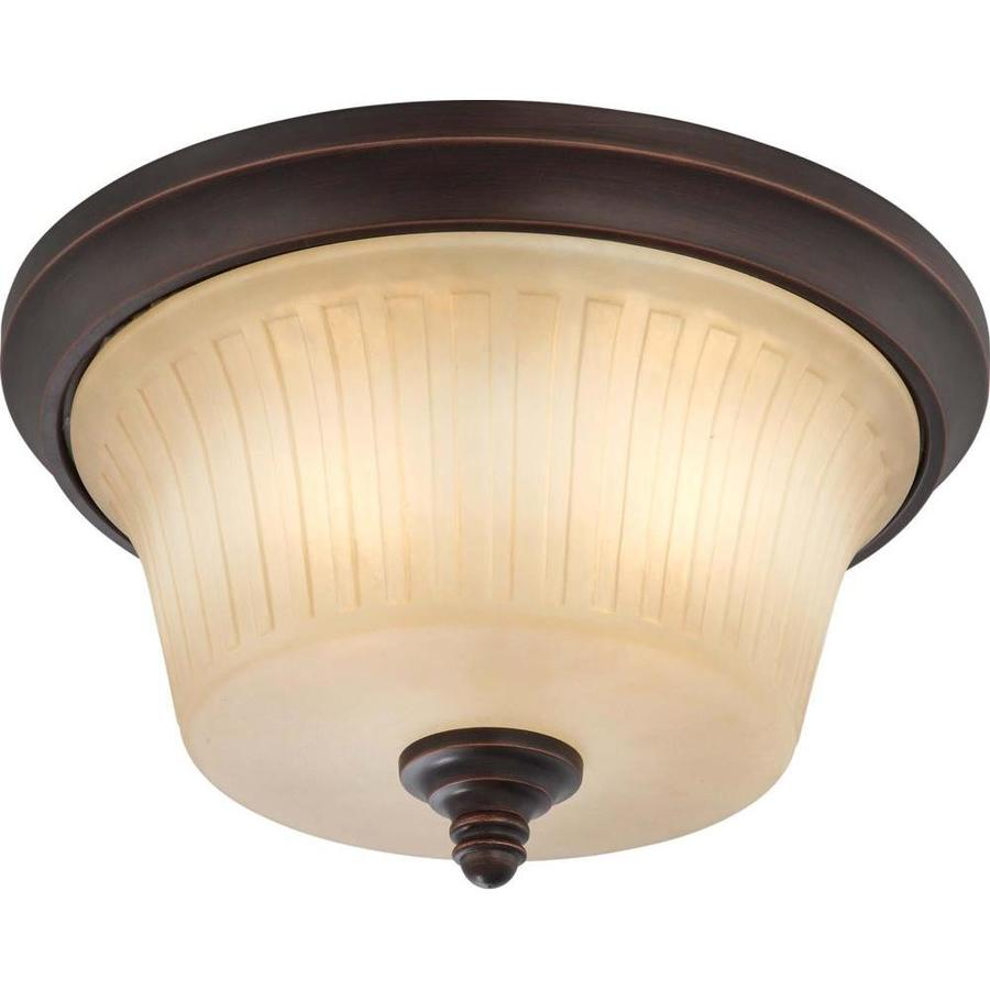 3-in W Georgetown bronze Flush Mount Light