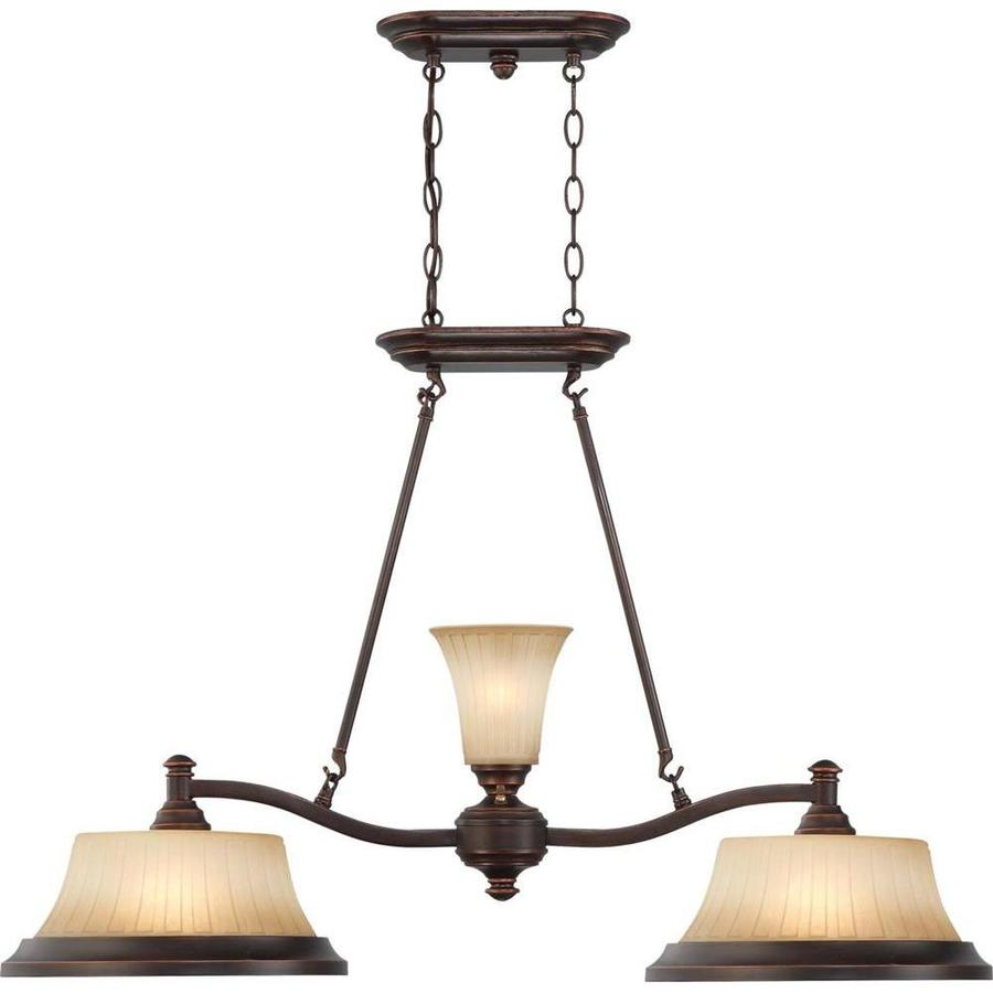 Franklin 13.5-in 2-Light Georgetown Bronze Tinted Glass Linear Chandelier