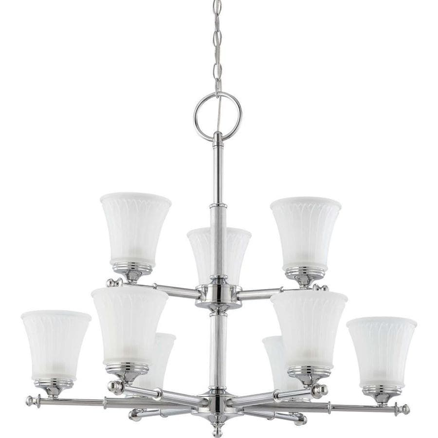 Teller 30-in 9-Light Polished Chrome Tinted Glass Candle Chandelier