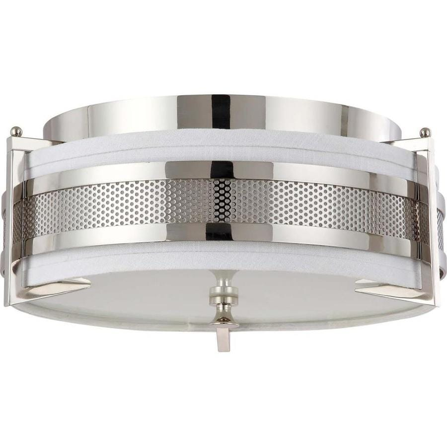 16-in W Polished Nickel Ceiling Flush Mount Light