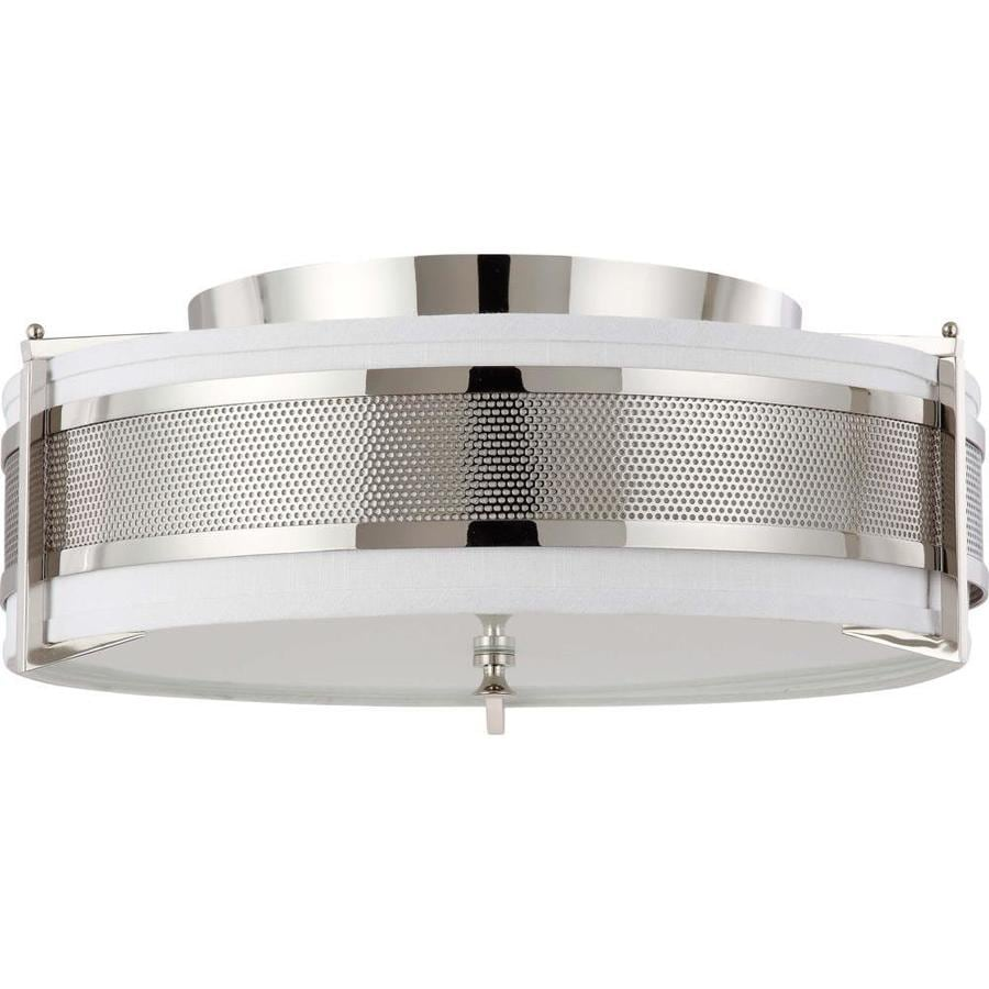 4-in W Polished nickel Flush Mount Light